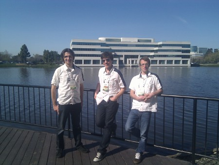 Free Electrons engineering team. From left to right: Grégory Clément, Maxime Ripard and Thomas Petazzoni