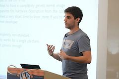 Maxime Ripard giving his Allwinner kernel talk