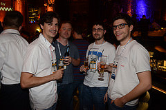 At the social event, from left to right: Grégory Clement (Bootlin), Kevin Hilman (Linaro), Boris Brezillon (Bootlin), Maxime Ripard (Bootlin)