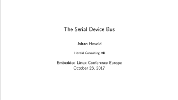 The Serial Device Bus – Johan Hovold