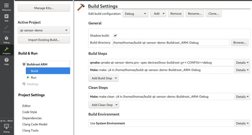 Qt Creator project build settings
