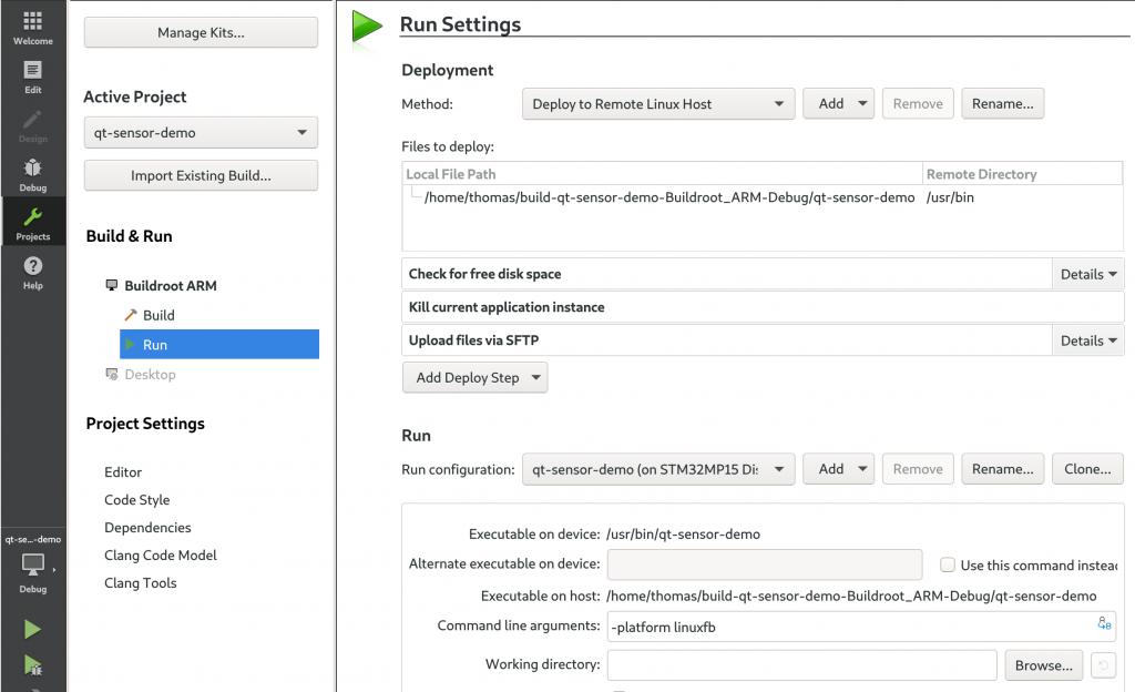 Qt Creator run settings