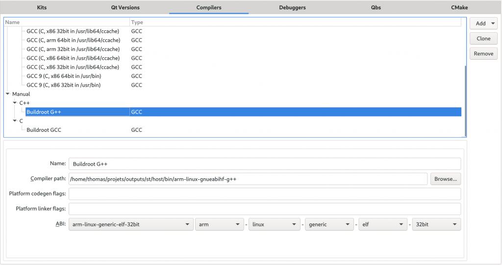 Qt Creatoer compiler panel, C++ compiler