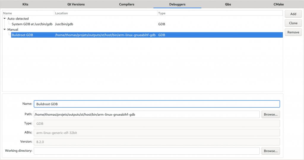 Qt Creator debugger panel