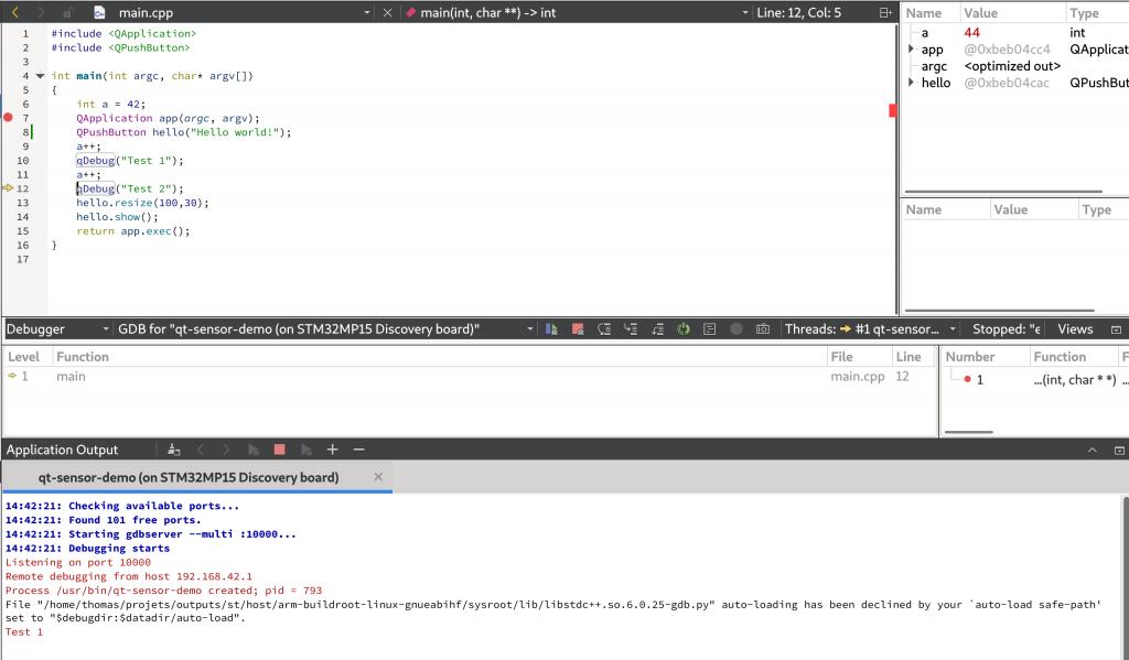 Qt Creator debugging