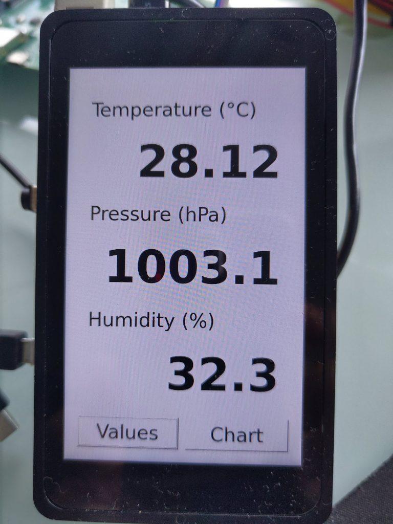 Qt5 application showing the I2C sensor data