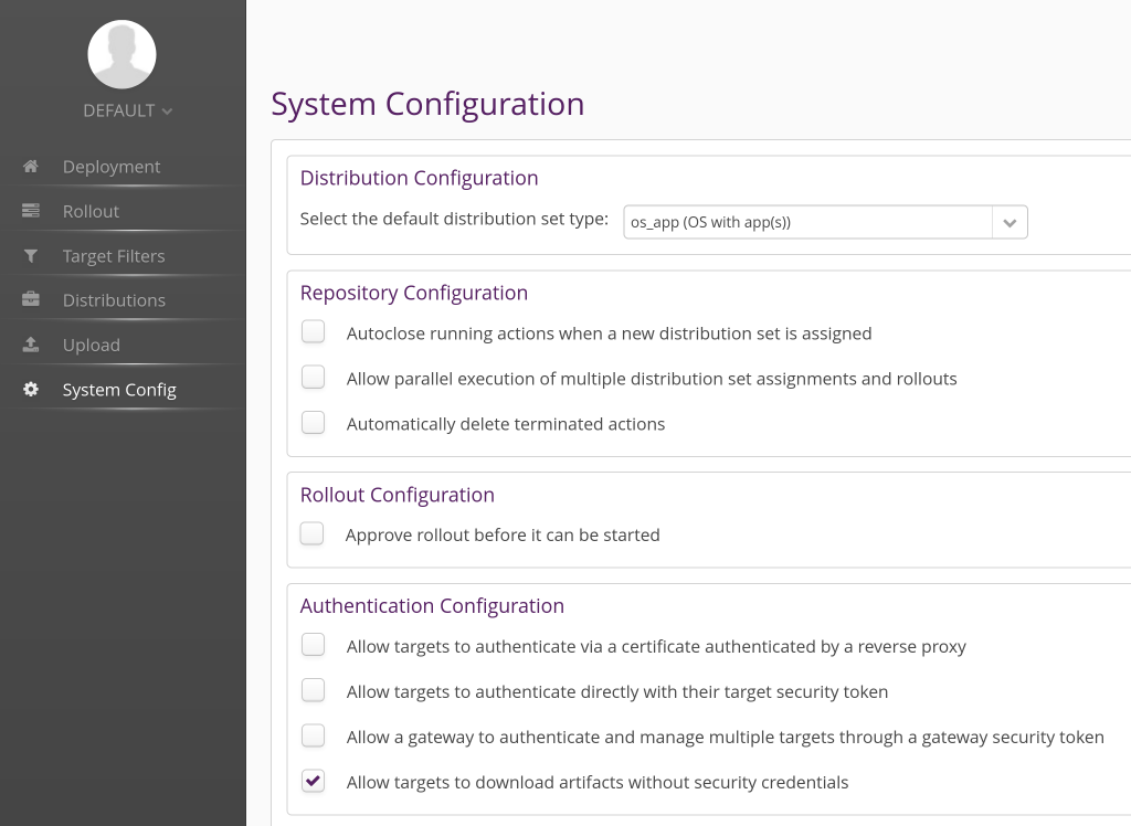hawkBit System Config